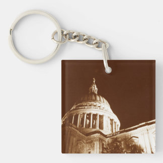 St Paul's Cathedral – Sepia Double-Sided Square Acrylic Key Ring