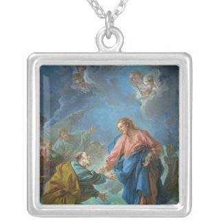 St. Peter Invited to Walk on the Water, 1766 Silver Plated Necklace
