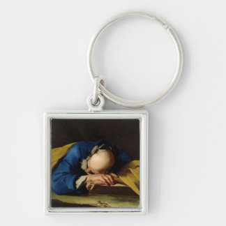 St. Peter or St. Jerome Sleeping, c.1735-39 Silver-Colored Square Key Ring