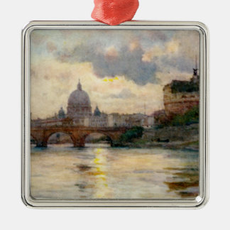 St Peter's Rome From The Tiber Silver-Colored Square Decoration