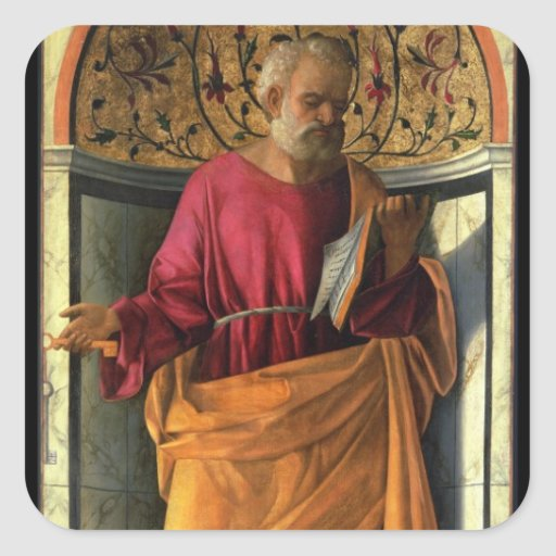 St. Peter (tempera on canvas) Square Stickers