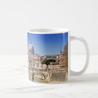 St. Peter's Basilica And Ponte Sant Angelo Basic White Mug