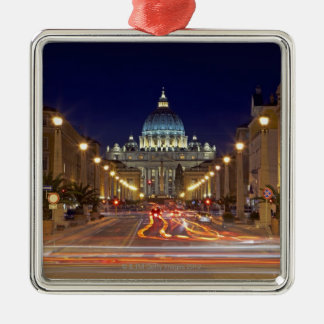 St Peter's Basilica toward end of road at night Christmas Ornament