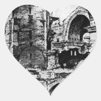 St. Peter's basilica under construction by Maerten Heart Sticker