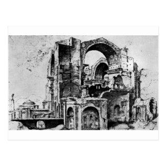 St. Peter's basilica under construction by Maerten Postcard