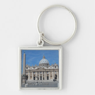 St Peter's Basilica- Vatican City Silver-Colored Square Key Ring