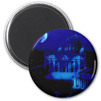 St. Peter's Basilica with moon 6 Cm Round Magnet