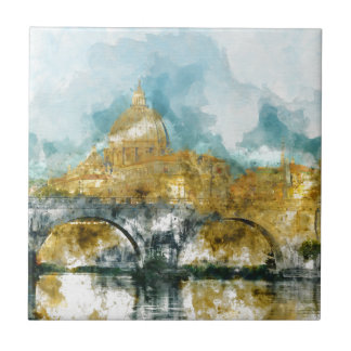 St. Peter's in Vatican City Rome Italy Small Square Tile