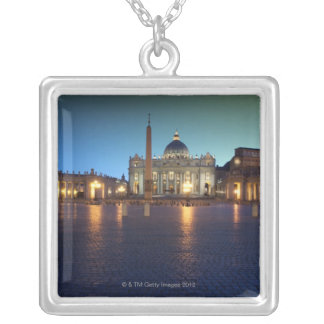 St Peters Square, Rome, Italy Silver Plated Necklace