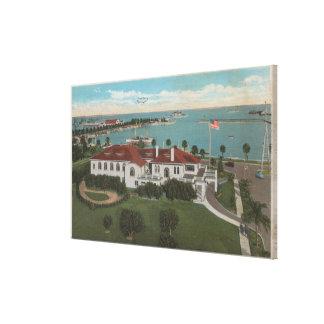 St. Petersburg, FL - Aerial of Yacht Club & Gallery Wrap Canvas