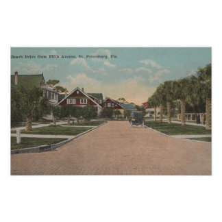 St. Petersburg, FL - View of Beach Dr & 5th Ave Poster