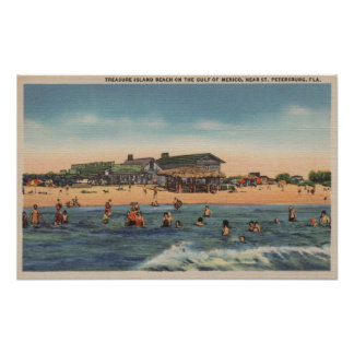 St. Petersburg, FL - View of Treasure Island Poster