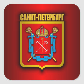 St Petersburg Gold Square Sticker