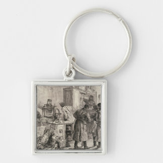 St. Petersburg Police Silver-Colored Square Key Ring