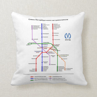 St Petersburg Subway Map Pillow