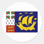St Pierre Miquelon Local unofficial Flag Round Sticker