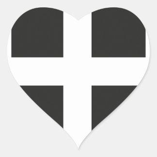 St Piran s Flag Cornwall Kernow Heart Sticker