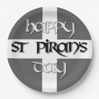 St Piran's Day with Cornish Flag 9 Inch Paper Plate