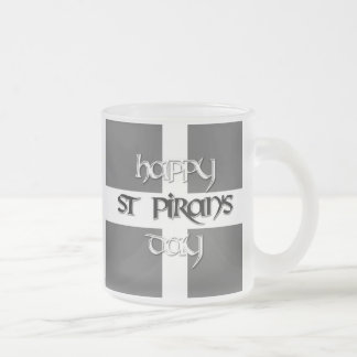 St Piran's Day with Cornish Flag Frosted Glass Coffee Mug