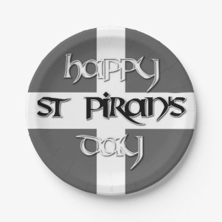 St Piran's Day with Cornish Flag 7 Inch Paper Plate