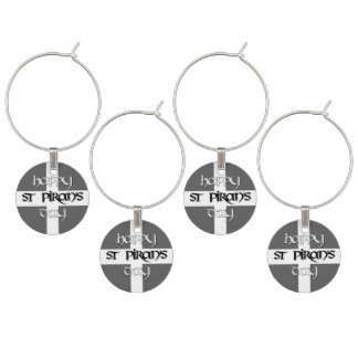 St Piran's Day with Cornish Flag Wine Glass Charms