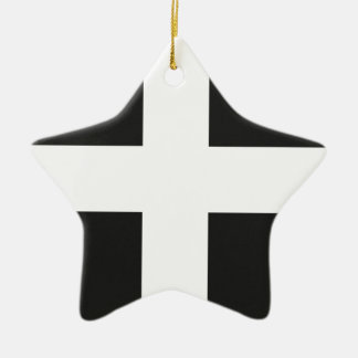 St Piran's Flag Cornwall Kernow Ceramic Star Decoration