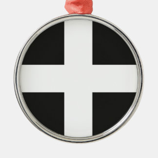 St Piran's Flag Cornwall Kernow Silver-Colored Round Decoration