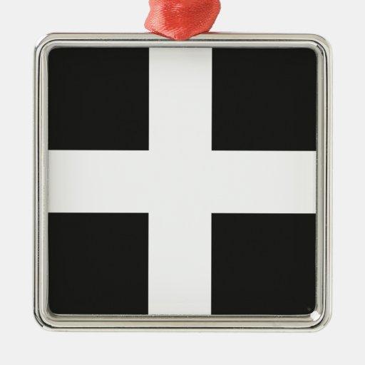 St Piran's Flag Cornwall Kernow Christmas Tree Ornament