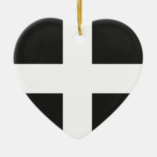 St Piran's Flag Cornwall Kernow Ceramic Heart Decoration