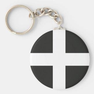 St Piran's Flag Cornwall Kernow Basic Round Button Key Ring