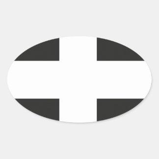 St Piran's Flag Cornwall Kernow Oval Sticker