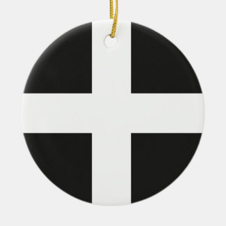 St Piran's Flag Cornwall Kernow Round Ceramic Decoration