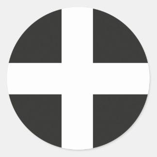 St Piran's Flag Cornwall Kernow Round Sticker