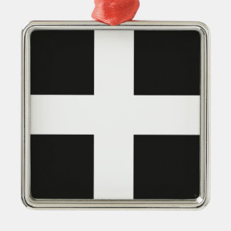 St Piran's Flag Cornwall Kernow Silver-Colored Square Decoration