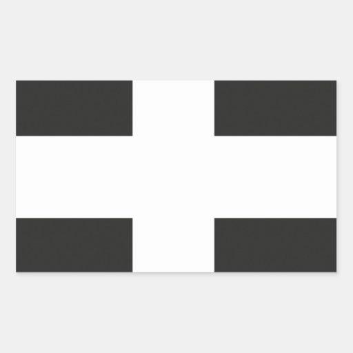 St Piran's Flag Cornwall Kernow Rectangle Sticker