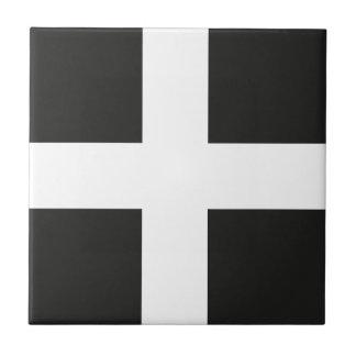 St Piran's Flag Cornwall Kernow Small Square Tile