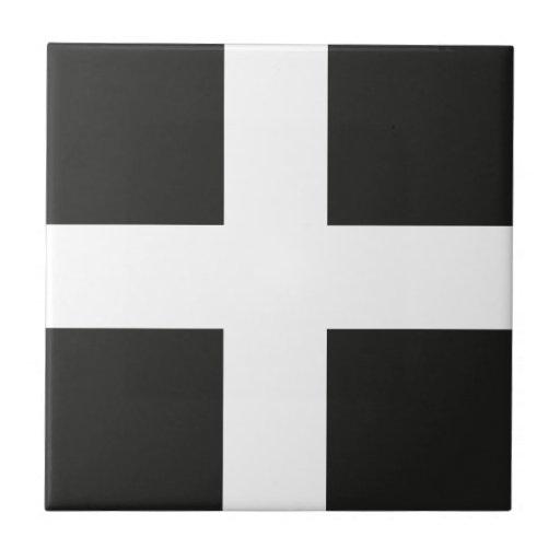 St Piran's Flag Cornwall Kernow Ceramic Tile