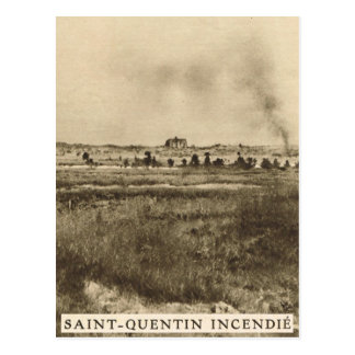 St Quentin in flames, NE France Postcard