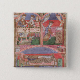 St. Radegund  at the table of Clothar I 15 Cm Square Badge