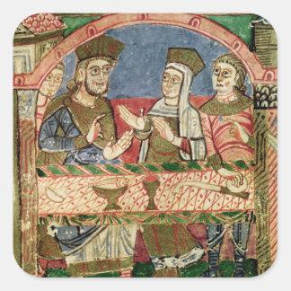 St. Radegund at the table of Clothar I Square Sticker