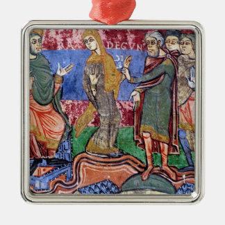 St. Radegund led before Clothar I Silver-Colored Square Decoration