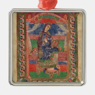 St. Radegund on a throne Silver-Colored Square Decoration