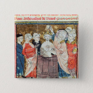 St. Remigius, Bishop of Rheims  baptising 15 Cm Square Badge