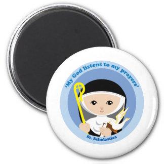 St. Scholastica 6 Cm Round Magnet