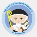 St. Scholastica Round Stickers