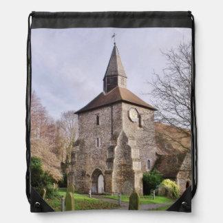 St Stephens Church In January Drawstring Backpacks