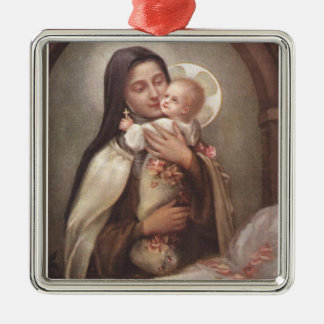 St. Therese Baby Jesus Manger Roses Silver-Colored Square Decoration