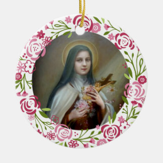 St. Therese of the Infant Jesus Roses Crucifix Round Ceramic Decoration