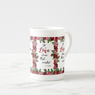 St. Therese Quote Red Roses Pink Floral Tea Cup