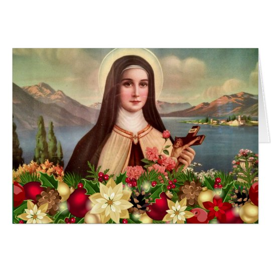 St. Therese Roses Crucifix Christmas Card
